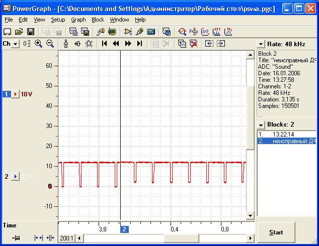 Справа сигнал неисправного датчика.  Доработанная звуковая карта через спецадаптер.  По вертикальной шкале вольты.