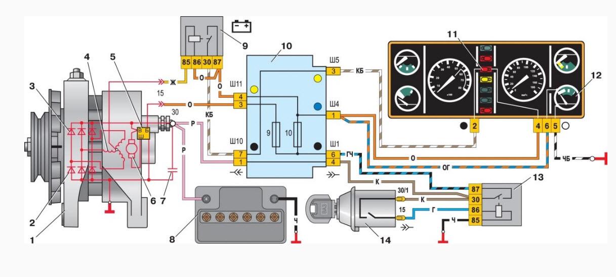 Схема реле-регулятора ваз 2101